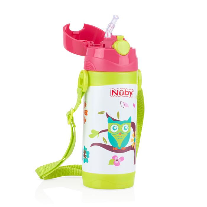 Nuby - 不銹鋼真空背帶水壺 (細吸管) 360ml 貓頭鷹