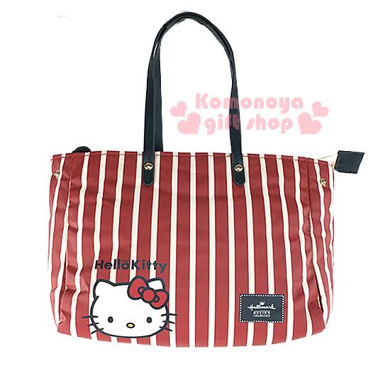 〔小禮堂〕Hello Kitty x Hallmark 2way手提包《小.紅條紋.大臉.附可拆式背帶》