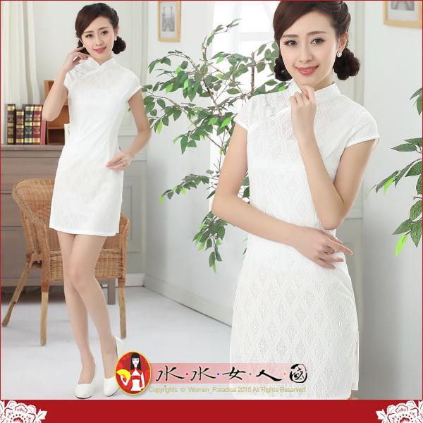 【水水女人國】~夏日花樣旗袍中國風~白色戀人。復古蕾絲修身超顯瘦改良式時尚短旗袍