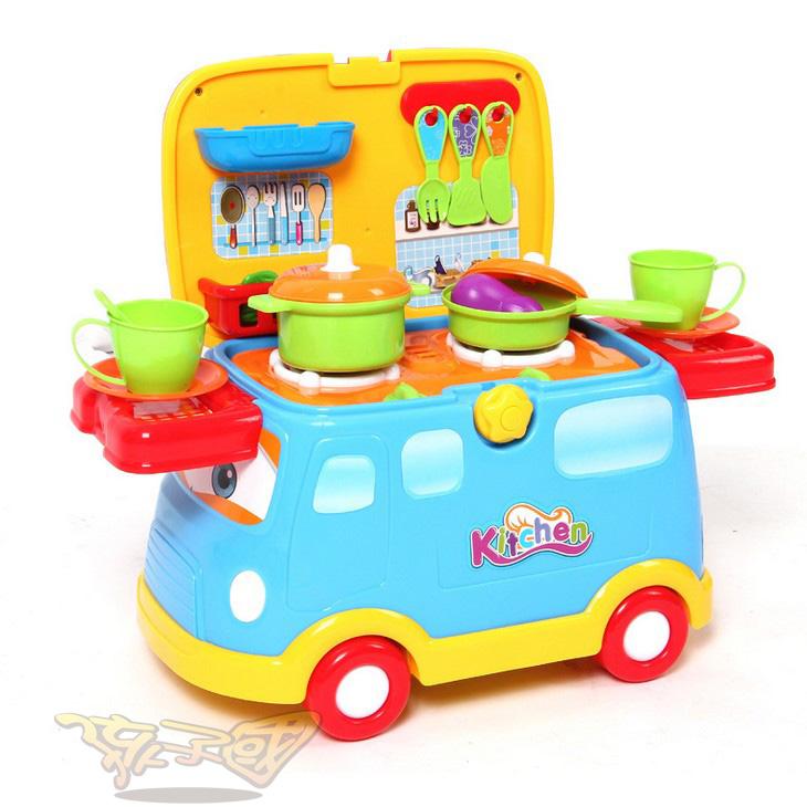 【孩子國】仿真廚房做飯套裝美味快餐車男女孩學步車兒童過家家玩具1.67