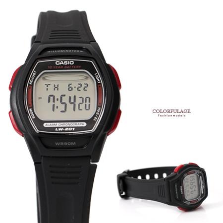 CASIO卡西歐 黑紅酒桶造型多功能電子運動手錶腕錶 超薄輕巧 柒彩年代【NE1784】原廠公司貨