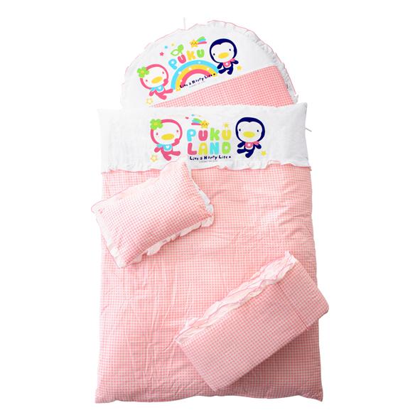 『121婦嬰用品館』PUKU 小藍七件式寢具組 - 粉