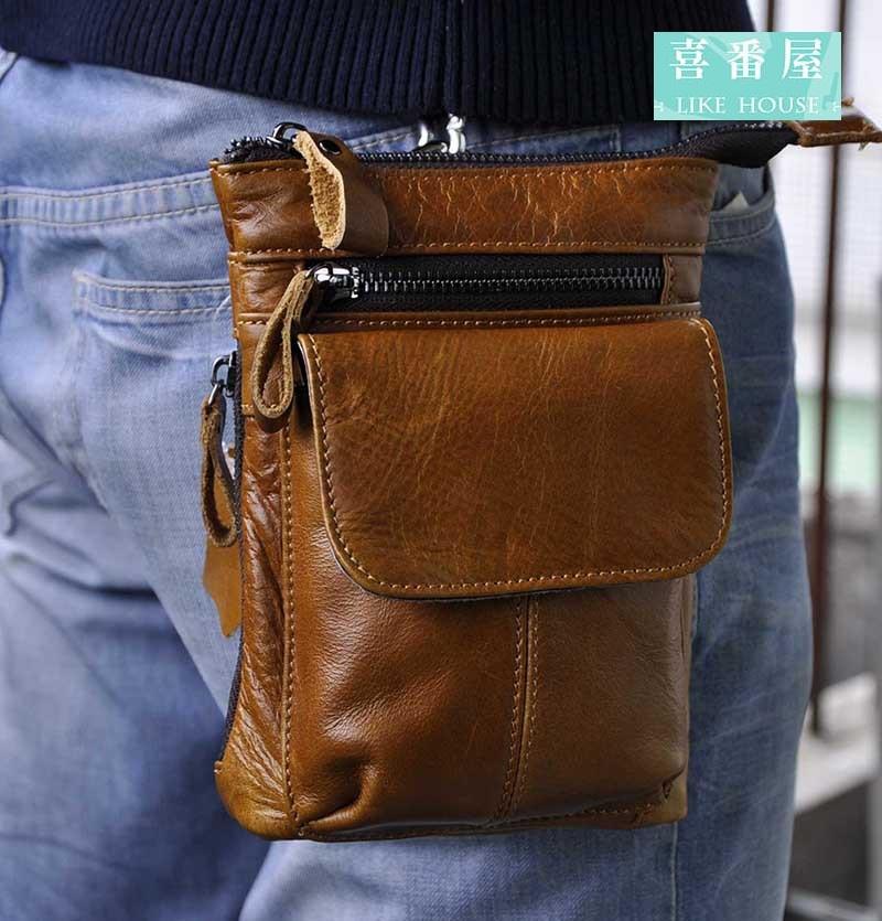 【免運!】真皮頭層牛皮男士可裝7吋手機腰掛皮夾皮包手機包手機套卡片包卡片夾男夾男包腰包LB90 【喜番屋】