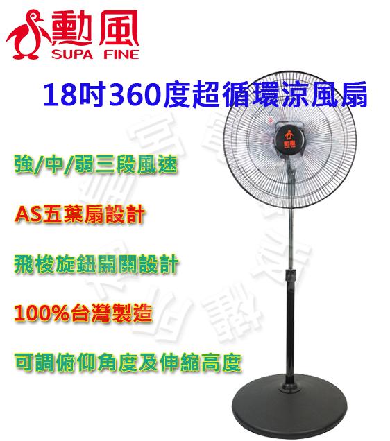 ✈皇宮電器✿ 勳風 18吋360度超循環涼風扇HF-B1818