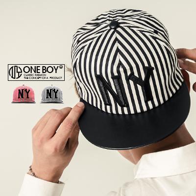 『 One Boy 』【NU3011】撞色系條紋電繡NY棒球帽