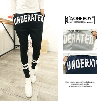 『 One Boy 』【N175】率性印字樣休閒棉質束口褲