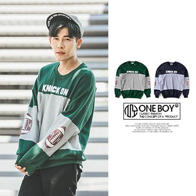 『 One Boy 』【N550】歐美風雙色拼接刷毛長袖T恤