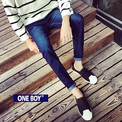 『 One Boy 』【N60015】冬季實色鈕扣設計定番款單寧長褲