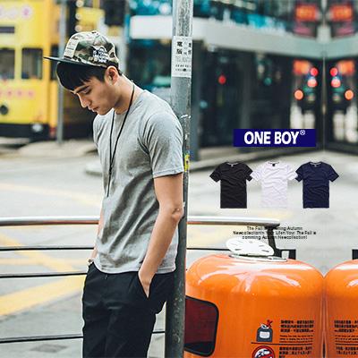 『 One Boy 』【O160118】街頭復刻素面圓領無印款休閒T恤