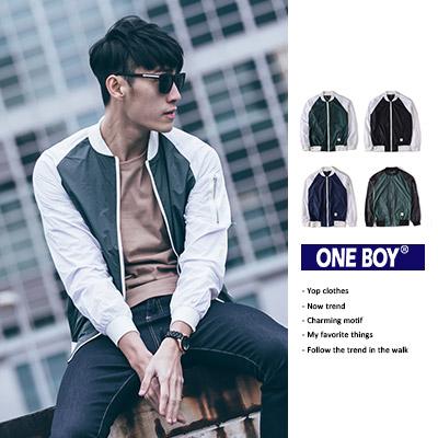 『 One Boy 』【O15917】今秋俐落極簡拼接飛行員防風外套