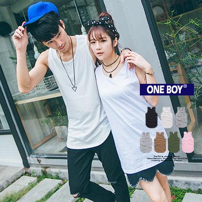 『 One Boy 』【O160352】百搭素面長版圓弧下擺自訂無袖背心