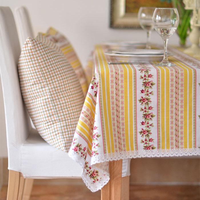 居家鄉村風 格子碎花竹節棉黃色花邊布藝桌布 餐桌布/單售