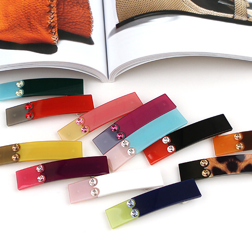 BHI1177-法國品牌RenaChris 施華洛世奇晶鑽雙色小髮夾 彈簧夾【韓國製】