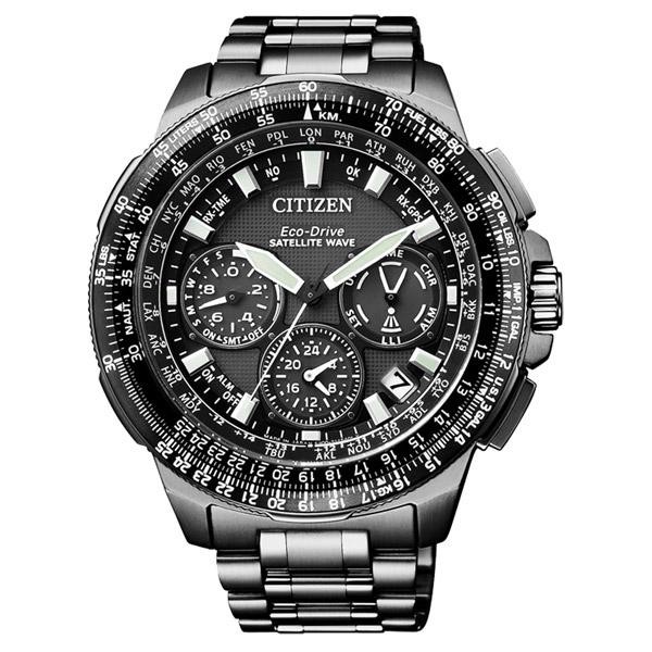 CITIZEN星辰CC9025-51E黑鈦金屬GPS衛星對時光動能腕錶/黑面47mm