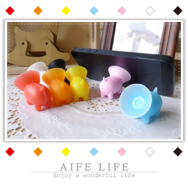 【aife life】小豬吸盤手機架/小狗手機架/吸盤手機支撐架/固定架/手機座/矽膠支架