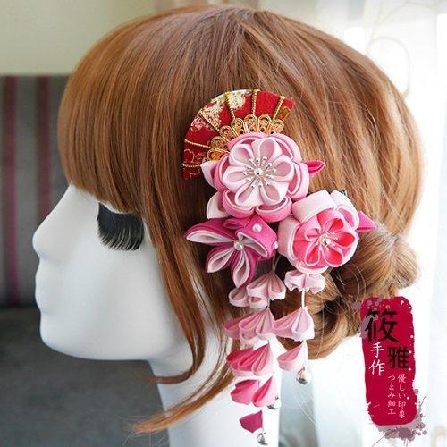 和風頭飾日式布花 藝妓頭飾新娘頭飾設計 獨家手工和風髮飾 浴衣和服造型頭飾 筱雅衣舖【D51】4色