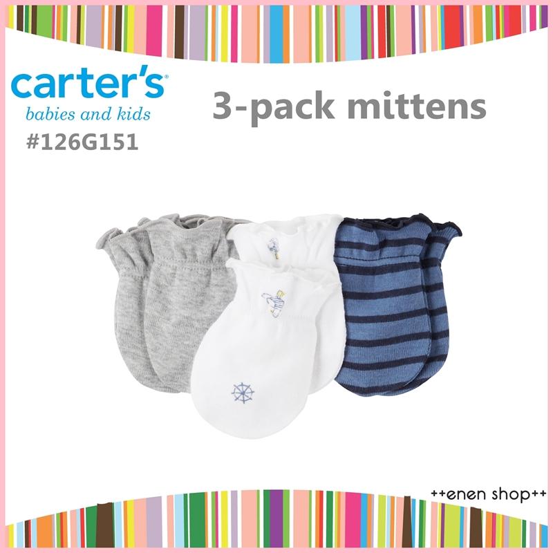 ++enen shop++ Carter's 海鷗/條紋款新生兒手套三件組 #126G151 新生兒/彌月禮
