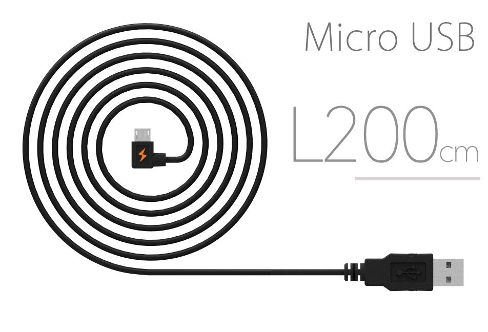 L型接頭-橘色閃電 Micro USB 快速充電200cm