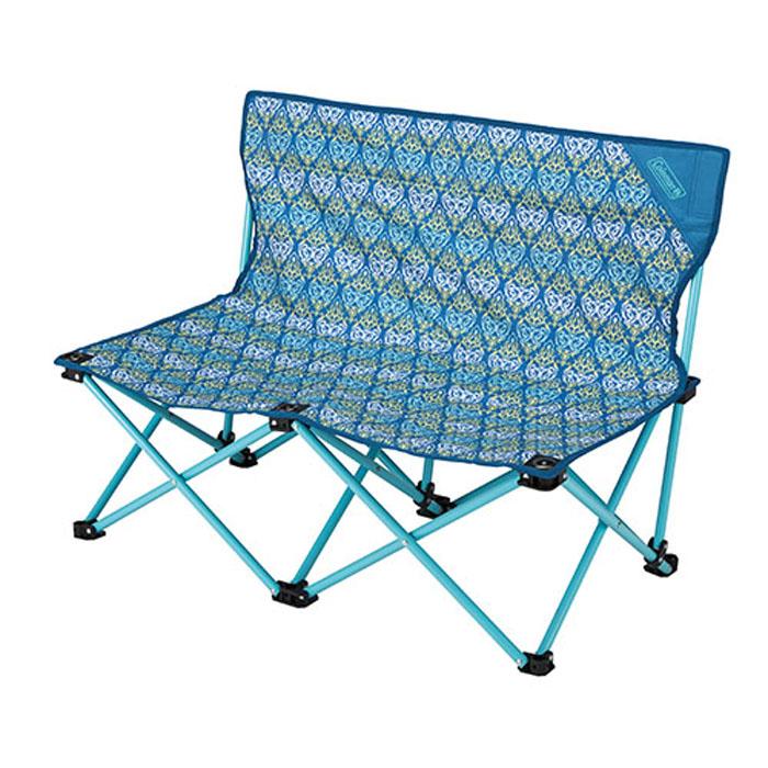【鄉野情戶外專業】 Coleman |美國|  休閒椅 雙人椅雙人椅摺疊椅 折合椅 折疊椅 長板凳 野餐椅 情人椅-藍葉圖騰_CM-22002M000