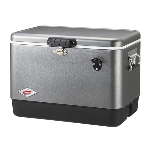 【露營趣】中和 送保護套 Coleman  51L優雅銀經典鋼甲冰箱 行動冰箱 冰桶 露營冰桶 CM-03740