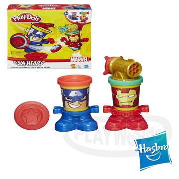 【Playwoods】[培樂多黏土PLAYDOH]漫威英雄黏土罐遊戲組:鋼鐵人與美國隊長(內含2罐人物造型黏土&造型底座/孩之寶Hasbro/Mavel)