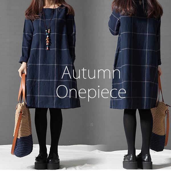 滿700再折$100升級版 [舊時光]森女棉麻寬鬆格子長袖洋裝[2色,M~3XL] - 御聖願