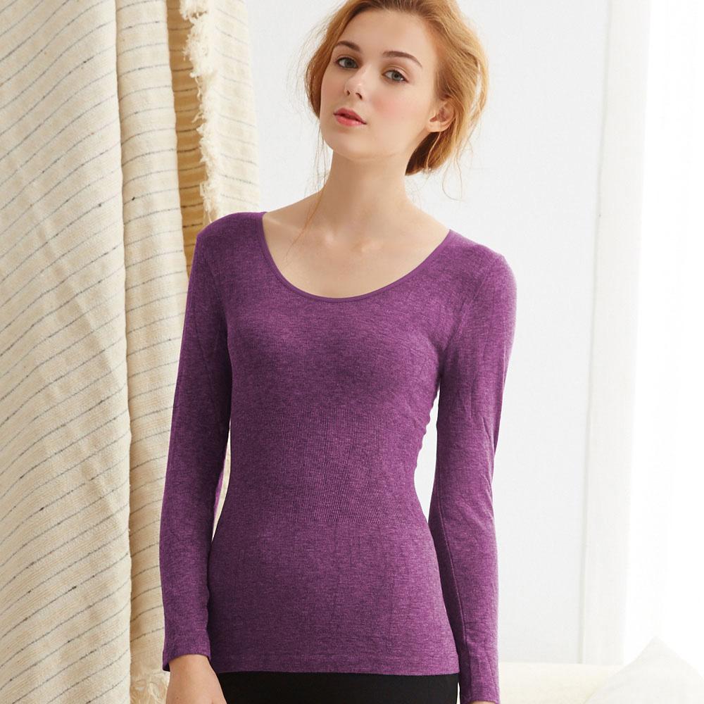 【Emon】X-Hot 發熱纖維U領保暖衛生衣(葡萄紫)
