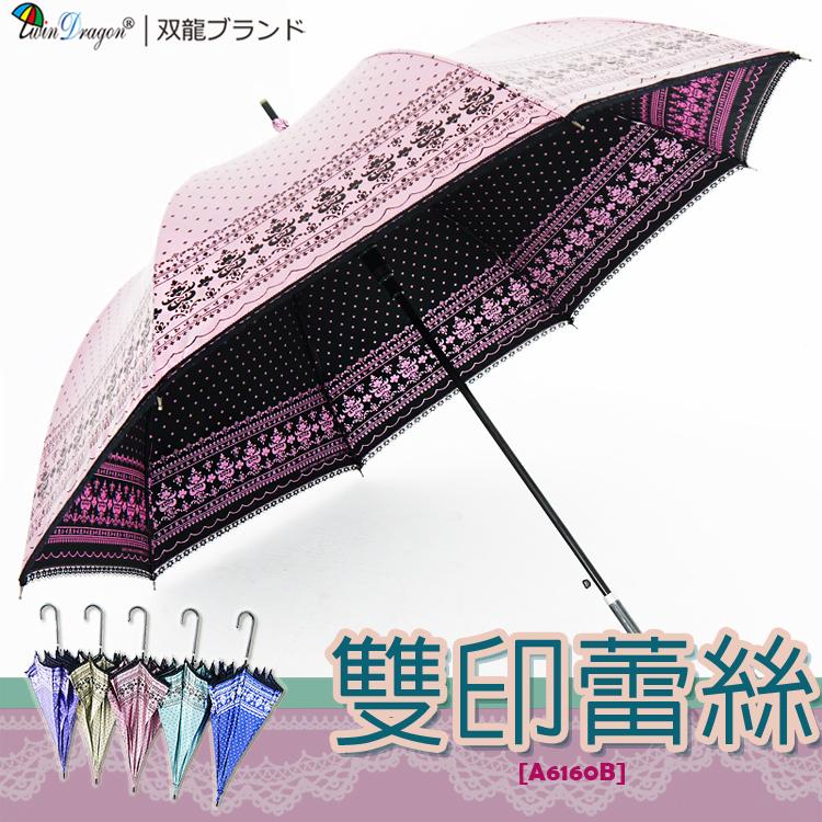 【雙龍牌】洛可可雙面圖案蕾絲宮廷傘(香頌粉下標區)防曬降溫黑膠自動傘超輕量陽傘貴婦傘A6160B