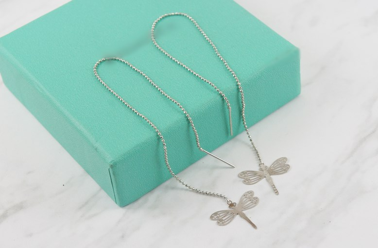 2383709蜻蜓活動式金屬鍊條耳環、耳扣、耳勾、耳針、耳飾