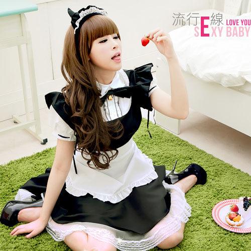 COSPLAY萌女僕裝~公主袖甜美洋裝角色扮演女傭制服派對焦點~流行E線 A080