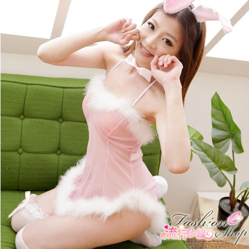 角色扮演透視性感粉紅薄紗兔女郎cosplay服裝*流行E線A598
