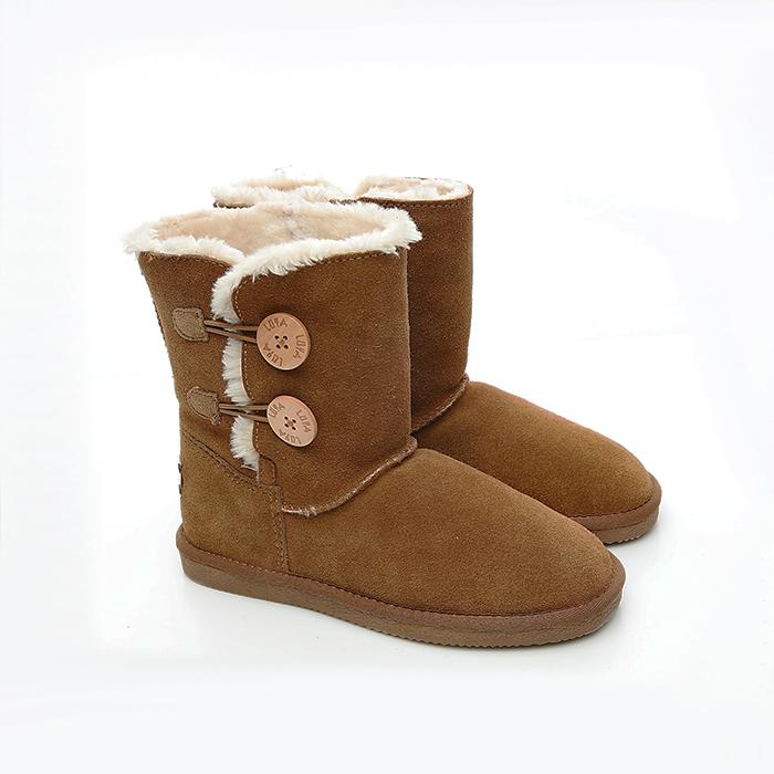 2MUCH鈕釦真牛皮短筒雪靴-駝色(36-40)