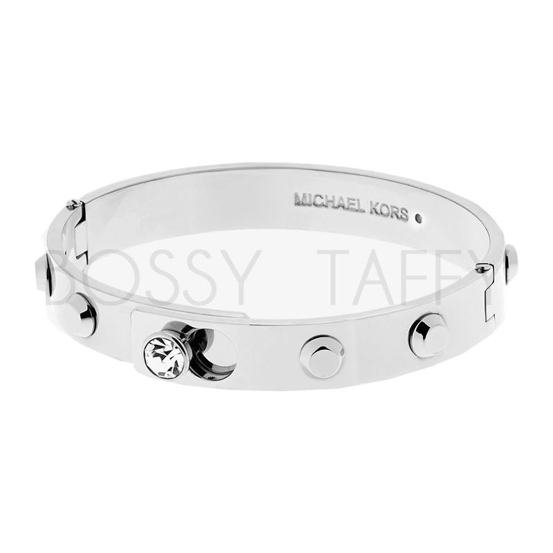 MICHAEL KORS 經典銀純鋼鑲鑽手環 MK Astor Silver-Tone Bangle MKJ4551