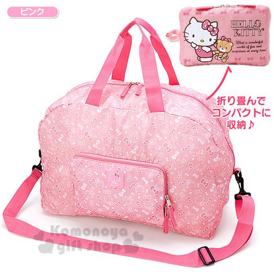 〔小禮堂〕Kitty 可折疊斜背旅行袋《L.粉.側站.小熊》可掛於行李箱桿上