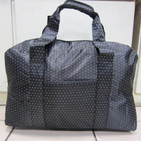 ~雪黛屋~X-TREME小點點可愛旅行袋防水尼龍布材質超大購物袋 大容量 好收納不占空間XT262 黑