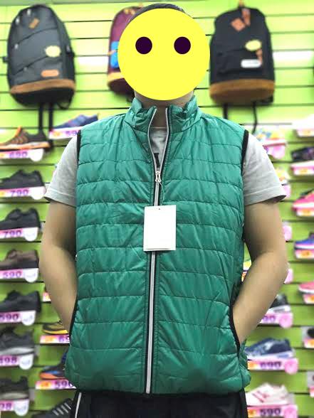【巷子屋】男/女款滾邊科技保暖鋪棉背心外套 綠色 超值價$250