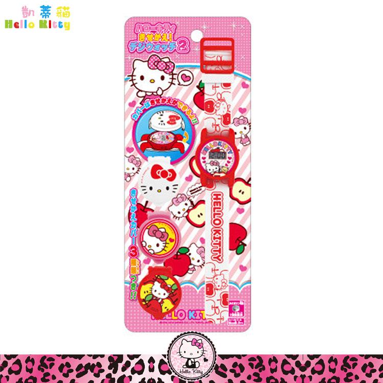 大田倉 日本進口正版 三麗鷗凱蒂貓Hello Kitty 電子錶 兒童手錶 造型錶 玩具錶 附3款錶蓋蘋果 013252