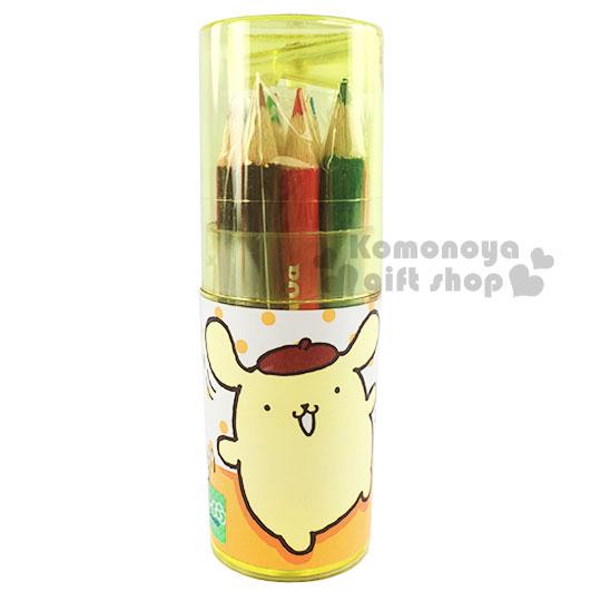 〔小禮堂〕布丁狗 圓筒盒裝12色鉛筆《迷你.黃.點點.朋友》附削筆器