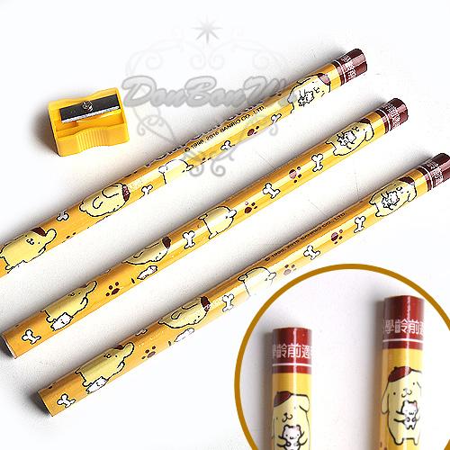 布丁狗鉛筆2B削鉛筆機3入組粗三角狀黃867290海度