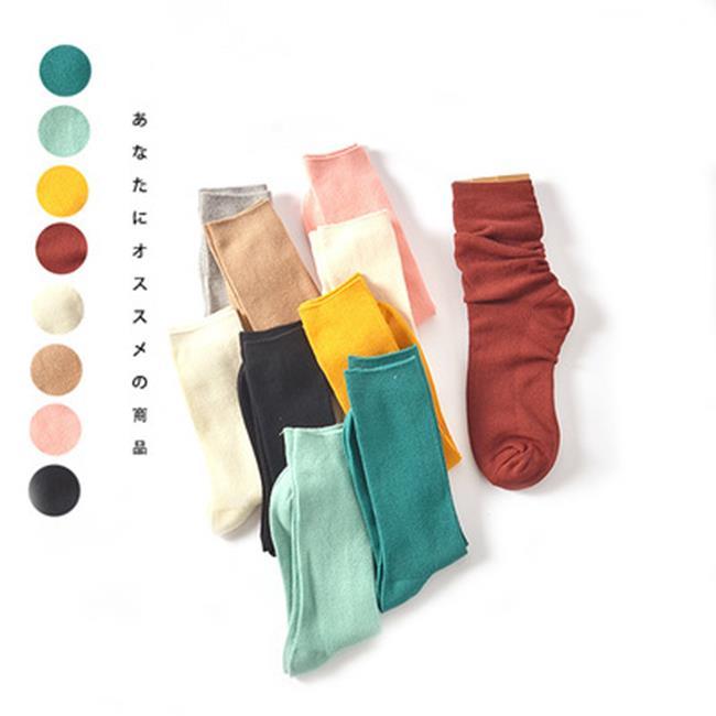 50%OFF【W018368SK】秋冬襪子批發 純棉 森系文藝女襪 復古純色百搭基礎款堆堆襪子