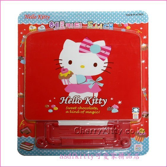 asdfkitty可愛家☆KITTY蛋糕版紅書架-可當課本架,食譜架,樂譜架,平版架-韓國製