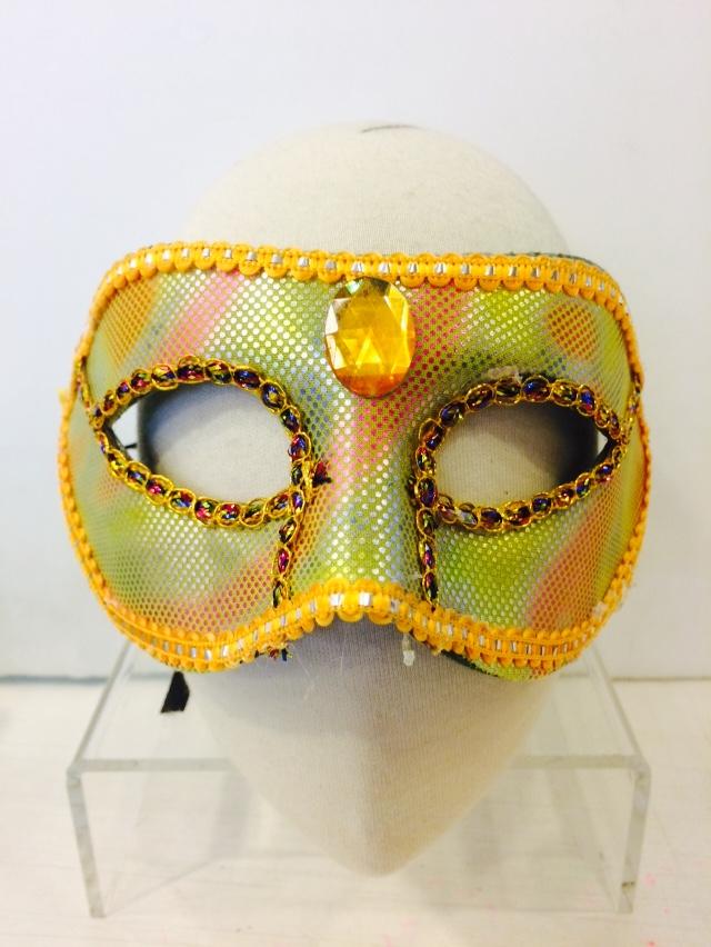 X射線【W060021】寶石亮片面具-黃,萬聖節服裝/派對用品/舞會道具/cosplay服裝/角色扮演