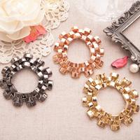 ☆~Rinco~☆甜氛春漾 時尚注目錶帶造型金屬寬版手鍊