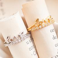 ☆~Rinco~☆秋光扉頁 幸福環繞LOVE細語字母排鑽造型戒指