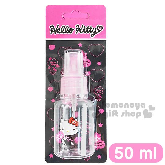 〔小禮堂〕 Hello Kitty 噴霧式空瓶《透明.粉.坐姿.拿愛心.吊帶褲.50ml》可自由補裝內容物