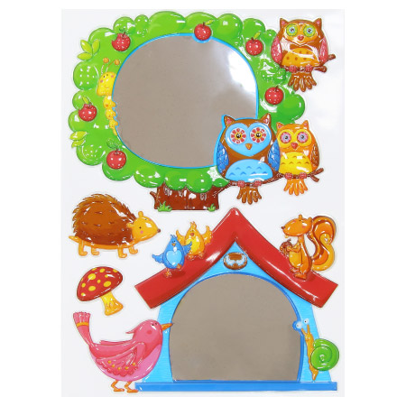 兒童壁貼 動物與貓頭鷹 鏡面浮雕