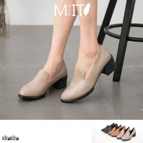 樂福鞋-特價優惠-MIT復古素面流線型粗跟尖頭牛津鞋【011500940】-預購