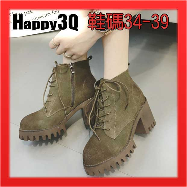 磨砂真皮綁帶鋸齒底顯瘦高跟粗跟圓頭軍靴短靴-黑/卡其/軍綠34-39【AAA1082】