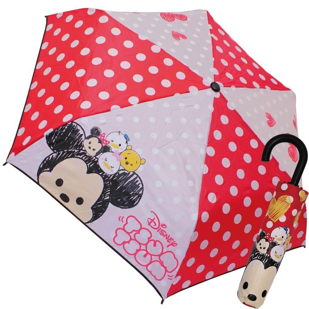 『日本代購品』迪士尼 Tsum tsum紅底圓點兒童折疊傘J手把雨傘 53CM