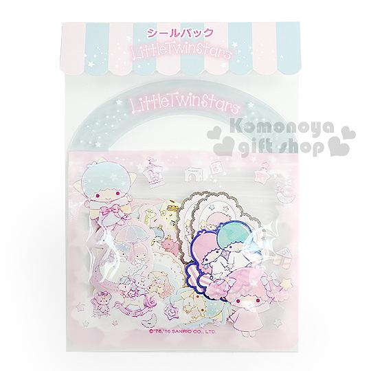 〔小禮堂〕雙子星 日製提袋造型貼紙組《粉藍.20款.40枚.木馬.鴨子》可愛造型貼紙